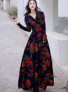 Stylish V-neck Long Sleeve Tie-waist Big Hem Print Dress : Dresses Plus Size Maxi Dresses, Women's Dresses, Dress Outfits, Long Dresses, Hippie Dresses, Fall Dresses, Summer Dresses, Stylish Dresses, Women's Fashion Dresses