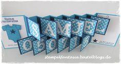Stampin Up_Accordeon Card_Akkordeonkarte_Baby_Geburt_Junge_Stempelfantasie_1 Boy Cards, Pop Up Cards, Kids Cards, Scrapbook Cover, Baby Scrapbook, Stampin Up Karten, Stampin Up Cards, Fancy Fold Cards, Folded Cards