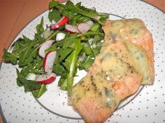 Poached Trout with Dandelion Salad