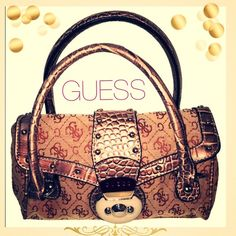 GUESS Tan G LOGO HANDBAG PURSE SATCHEL ~GUESS~DESIGNER GOLD PURSE~ Canvas body gold leather trim. Super small!  Perfect for a night out on the town. The inside is like new.  IN GREAT CONDITION Guess Bags Satchels