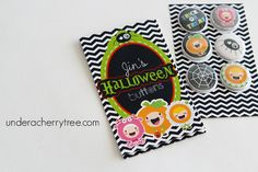 Jin's Halloween buttons   A Bunch of Cherries Cherries, Trick Or Treat, Jin, Paper Crafts, Buttons, Lettering, Halloween, Projects, Maraschino Cherries