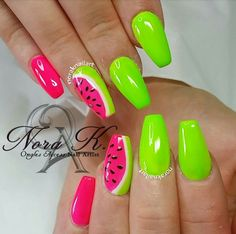 Discover new and inspirational nail art for your short nail designs. Best Acrylic Nails, Summer Acrylic Nails, Acrylic Nail Designs, Nail Art Designs, Neon Nails, My Nails, Bright Nails Neon, Watermelon Nails, Fire Nails