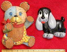 Chalkware Plaque LOT Beagle Hound Dog Teddy Bear Kids Decor Collectible Wall Art - Chalkware
