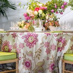 This is just so pretty for a summer garden wedding. Cant wait for a bride to have this pink/chartreuse color scheme.