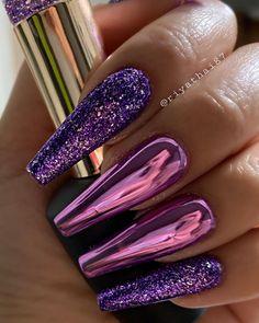 "Owner of Riya'sNails Salon on Instagram: ""💜💜💜 #purpleparadise #riyanailsalon #riyagelpolish . . . Glitter : #134 .supper chrome : #CH08"""