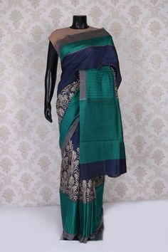 Navy #blue and #gold tussar silk dashing #saree with peacock #green & gold border -SR11042
