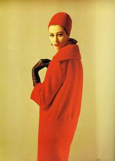 Red wool hat and coat by Pierre Balmain, French, 1961.1960's fashion