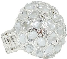 Yours Clothing Silver Diamanté Cluster Stretch Ring