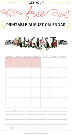 August 2014 Free Printable Calendar from @happinessishere