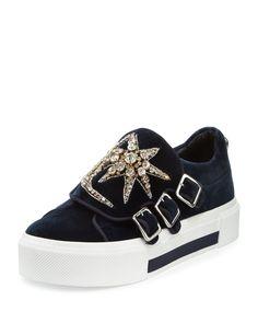 Triple-Monk Velvet Sneaker w/Jeweled Moon & Star, Navy/Silver, Women's, Size: 5B/35EU, Nav/Mul.Sil/Indi - Alexander McQueen