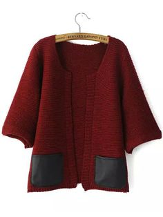Red Contrast PU Leather Pockets Knit Cardigan