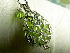 Worry Locket - peridot gemstones in teardrop locket sterling silver necklace on Etsy, $28.00