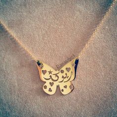Personalized Butterfly Nameplate Necklace - Arabic Calligraphy - Arabic Name Pendant - Farsi Jewelry - Embellishment Design - Custom Jewelry
