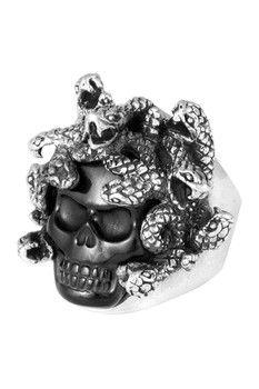 King Baby Sterling Silver Carved Jet Medusa Skull Ring