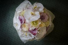 Bridal bouquet of faith roses, dahlia, hydrangea and phalanopsis orchid for wedding at Wrest Park,Silsoe flowers by www.wildorchidweddingflowers.co.uk