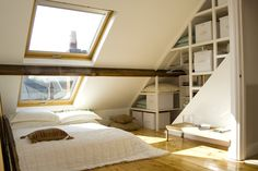 Easy storage solution, nice skylight and exposed beam.