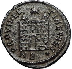CONSTANTIUS II Authentic Ancient 326AD Roman Military Camp Gate Coin i67652