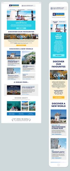 Your new and exclusive Crown & Anchor Society newsletter Email Design Inspiration, Responsive Email, Greek Isles, Best Cruise, World, Greek Islands, The World