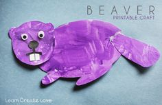 """Printables"" - Printable Beaver Craft (PDF is not coloured and beaver head/body/tail is in pieces so that they can easily be cut out, coloured or traced onto construction paper if desired and put together). Use split pin fasteners (otherwise known as brads) to put beaver together and the head/tail can move."