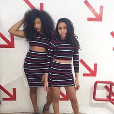 Chloe and Alissa from our Harlem store in new striped ponte styles.