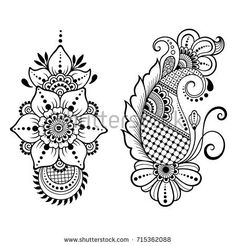 Set of Mehndi flower pattern for Henna drawing and tattoo. Decoration in ethnic oriental, Indian style. Mehndi Designs Book, Simple Mehndi Designs, Henna Tattoo Designs, Henna Designs On Paper, Henna Tattoos, Henna Flower Designs, Estilo Mehndi, Arte Mehndi, Henna Patterns