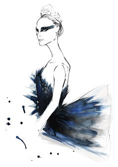 Print from my original watercolor illustration of an iconic costume in the movie Black Swan. The standard sizes are US letter (8.5 x 11), US tabloid