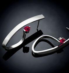 ruby earrings, July birthstone, statement earrrings, for her, Argentium silver earrings, statement earrings, dangle earrings - 2001