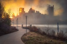 Pittsburgh Skyline At Sunrise As Fog Rolls by MikeBailyPhotography
