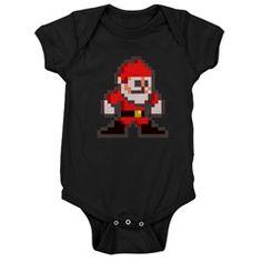 mega claus dark baby bodysuit > $18.49US > babybitbyte (cafepress.com/babybitbyte) #nerd #geek #babybitbyte #cafepress #8bit #pixelart #pixel #pxl #nes #famicom #mega #megaman #capcom #christmas #xmas #santa #santaclaus #hohoho