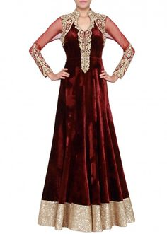 Maroon gown featured in velvet and net embellished in zardosi only on Kalki