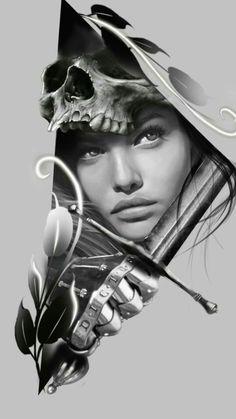 Chicano, Skull Tattoos, Girl Tattoos, Sleeve Tattoos, Tattoo Sketches, Tattoo Drawings, Tattoo Studio, Photoshop Tattoo, Girl Face Drawing