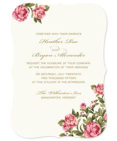Wedding Invitation Sample - Peonies by Papela