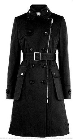 Karen Millen Posh Cotton Coat Black