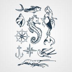 Navy Me - Planches de tatouages marine dessiné pour la mariage de la blogueuse Pauline, part son ami Tikki. http://www.bernardforever.fr/products/navy-me