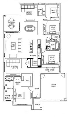 Designed around carefully zoned living spaces, the Riviera's layout is a unique combination of privacy, space and family sharing. House Layout Plans, New House Plans, Dream House Plans, House Layouts, Duplex Floor Plans, Home Design Floor Plans, House Floor Plans, Home Builders Melbourne, New Home Builders