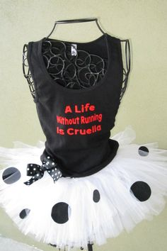 Running Tutu: 101 Dalmations Cruella lnspired Custom Racing Tank and Pixie Length (9 inch) Tutu on Etsy, $54.95