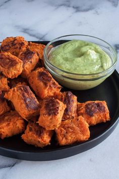 Sweet Potato Tater Tots with Avocado Green Goddess Dipping Sauce | paleo, AIP, gluten free, baked, recipe, clean eating, healthy, kids, homemade, simple | hungrybynature.com