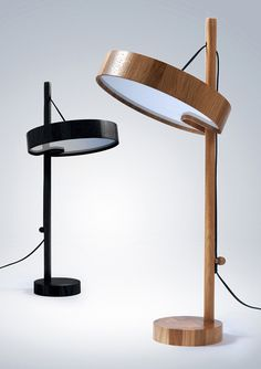 Sailing Ship table light by Shpelyk Roman. Pull the cord and the light body can be raised or lowered on a hinge. It is then fixed by a very satisfying wooden knob.
