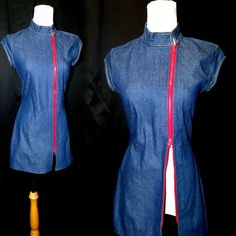 Vtg 80 Stretchy Blue Denim Micro Mini Zip Up Dress w/ Mandarin Collar S/M #vtg #micromini #dress #denim #stretchy #zipup #mandarincollar #capsleeve #s/m #80s #80's #1980's #1980s #AnOriginalbyLan #mothballhavenvintagethreads #gvsteam