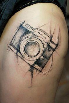 Nikon Camera Tattoo by Aga Yadou