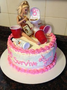 Birthday Party Barbie Cake topped with solo cups, toilet, liquor bottles