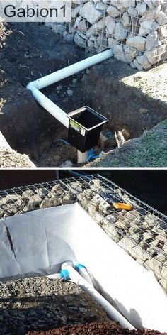 example of drain pipe through gabion wall http://www.gabion1.com