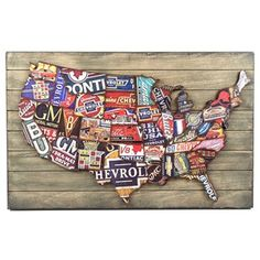 "Take a trip across America with this fun Faux Wood Plank Sign with Raised GM U.S. Map! This exciting MDF piece features each state of the United States. The states are each decorated with a different vintage-inspired General Motors design. The raised map adds texture and dimension, and the faux wood planks add rustic flair. Give the gift of a great American road trip to your dad, brother, husband, or other car enthusiast! Dimensions: Length: 20"" Width: 31 ..."