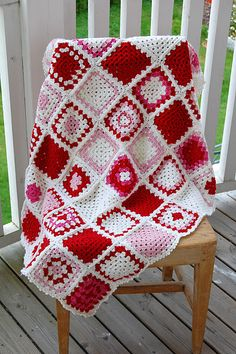 Granny square blanket in red & white (no pattern)