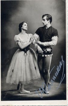 Kolpakova together with the very young Rudolph NUREYEV at the very start of his career, late 1950s.