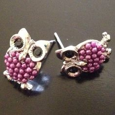 $10 Jewelry Special -  Beaded Owl Earrings (Purple) - $10