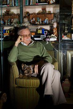 Stan Lee + fuzzy dog = EPIC WIN