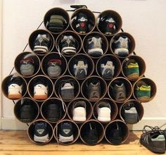 Problem: shoe heaps- Solution: will a PVC pipe beeswaxesque affair finally manage to keep all the shoes tidy on the  bottom shelf of IKEA hacked coat racks in the disimpegno?
