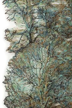 Lesley Richmond is a textile artist inspired by natural forms and textures. She works with textile processes to simulate organic surfaces. Textile Fiber Art, Textile Artists, Mixed Media Collage, Collage Art, Tea Bag Art, Creative Textiles, Leaf Art, Tree Art, Fabric Art