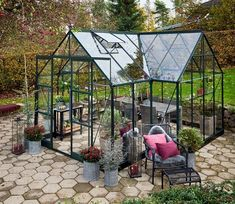 Halls Garden Room Greenhouse - GardenSite.co.uk Garden Frame, Home Greenhouse, Double Entry Doors, Free Base, Roof Vents, Outdoor Retreat, Safety Glass, Garden Structures, Glass House